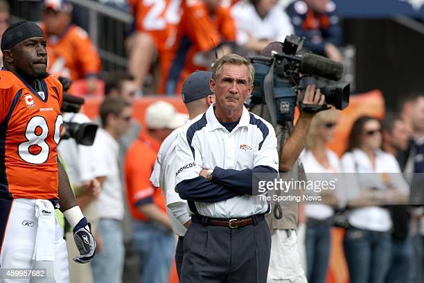Head Coach Mike Shanahan of the Denver Broncos looks on from the sidelines before a game against the New Orleans Saints on September 21 2008 at...