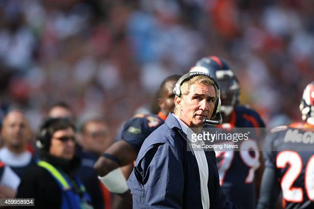 Head coach Mike Shanahan of the Denver Broncos looks on from the sidelines during a game against the San Diego Chargers on September 14 2008 at...
