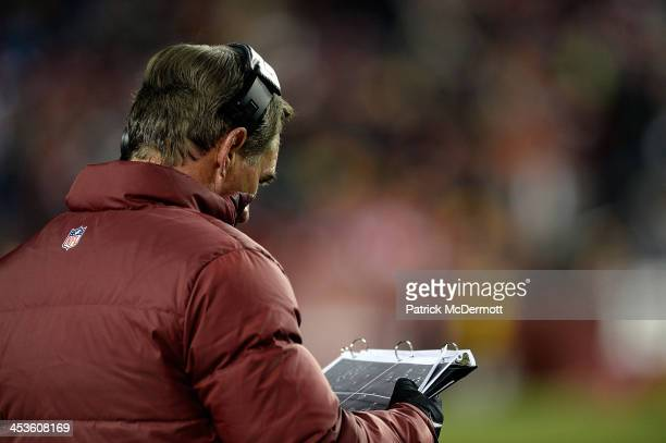 Head coach Mike Shanahan of the Washington Redskins watches play from the sideline during the second half of an NFL game against the San Francisco...