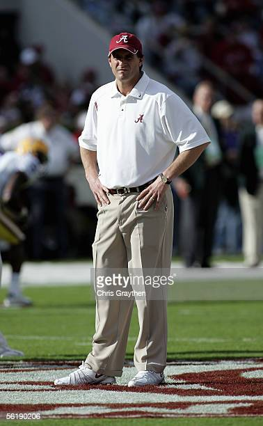 Head Coach Mike Shula of the University of Alabama Crimson Tide watches during the game with the Louisiana State University Tigers on November 12...
