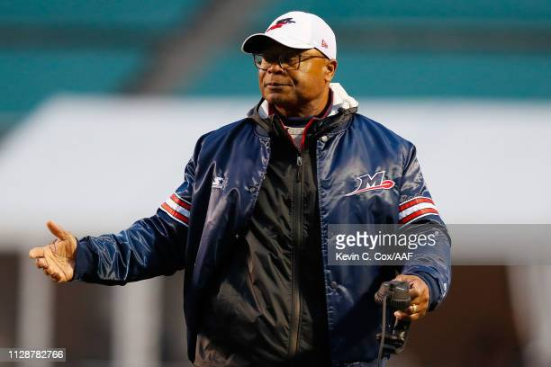 Head coach Mike Singletary of Memphis Express reacts to an officials call during an Alliance of American Football game against the Birmingham Iron at...