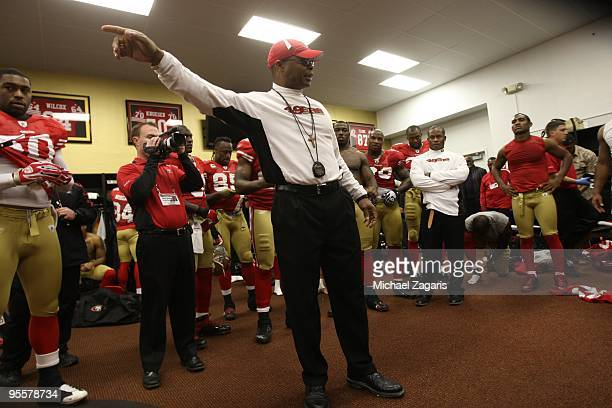 Head coach Mike Singletary of the San Francisco 49ers addresses the team in the locker room after the NFL game against the Detroit Lions at...