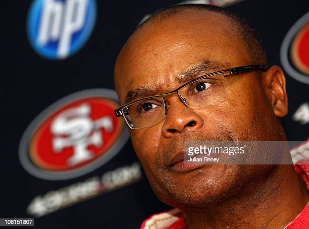 Head Coach Mike Singletary of the San Francisco 49ers attends a press conference at The Grove Hotel on October 27 2010 in Hertford England The San...