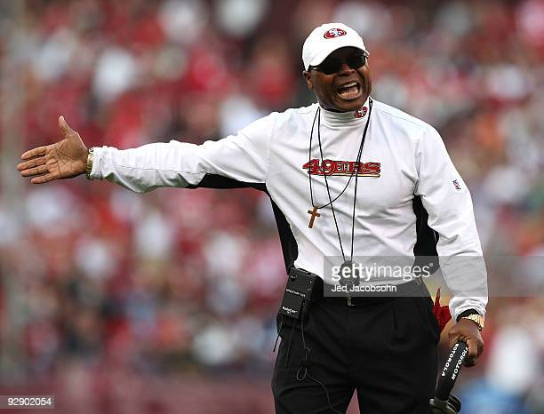 Head coach Mike Singletary of the San Francisco 49ers looks on against the Tennessee Titans during an NFL game on November 8 2009 at Candlestick Park...