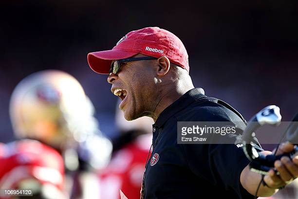 Head coach Mike Singletary of the San Francisco 49ers shouts on the sidelines during their game against the St Louis Rams at Candlestick Park on...