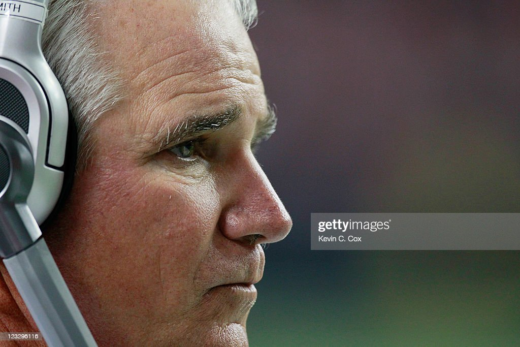 Head coach Mike Smith of the Atlanta Falcons looks on during the game against the Baltimore Ravens at Georgia Dome on September 1, 2011 in Atlanta, Georgia.