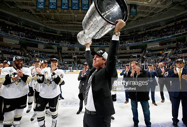 Head coach Mike Sullivan of the Pittsburgh Penguins celebrates with the Stanley Cup after the Penguins won Game 6 of the 2016 NHL Stanley Cup Final...