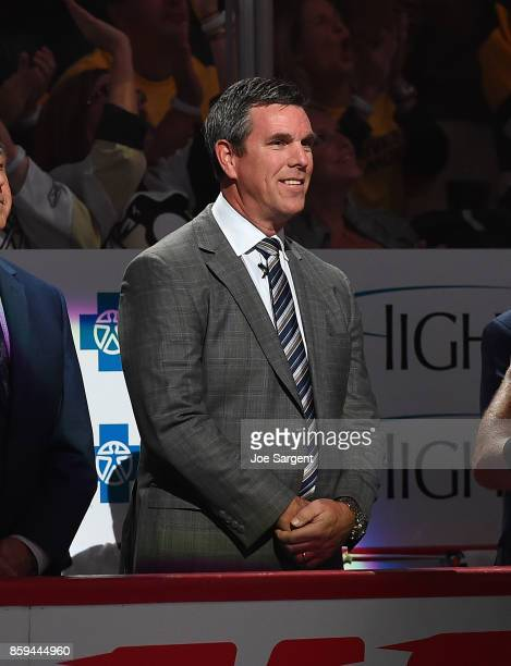 Head coach Mike Sullivan of the Pittsburgh Penguins is introduced prior to the game against the St Louis Blues at PPG Paints Arena on October 4 2017...