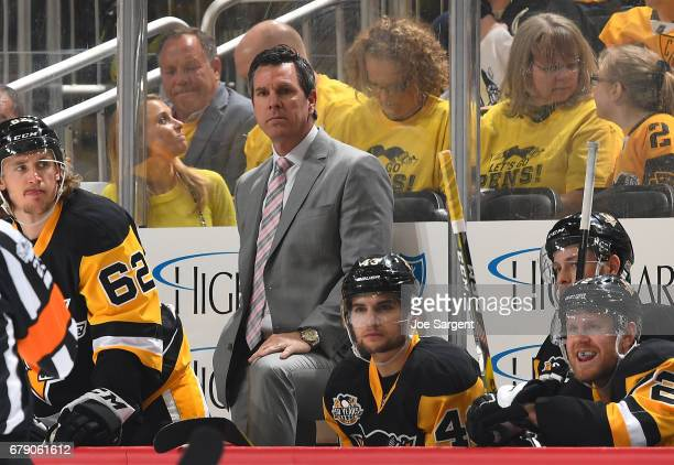 Head coach Mike Sullivan of the Pittsburgh Penguins looks on against the Washington Capitals in Game Three of the Eastern Conference Second Round...
