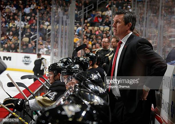 Head coach Mike Sullivan of the Pittsburgh Penguins looks on during the third period against the Anaheim Ducks at Consol Energy Center on February 8...