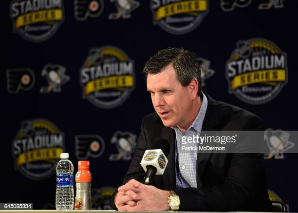 Head Coach Mike Sullivan of the Pittsburgh Penguins speaks during media availability prior to practice for the 2017 Coors Light NHL Stadium Series...