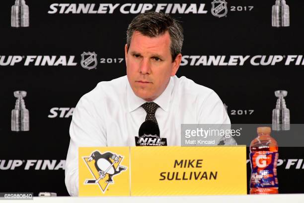 Head coach Mike Sullivan of the Pittsburgh Penguins speaks to the media after their 53 victory over the Nashville Predators in Game One of the 2017...
