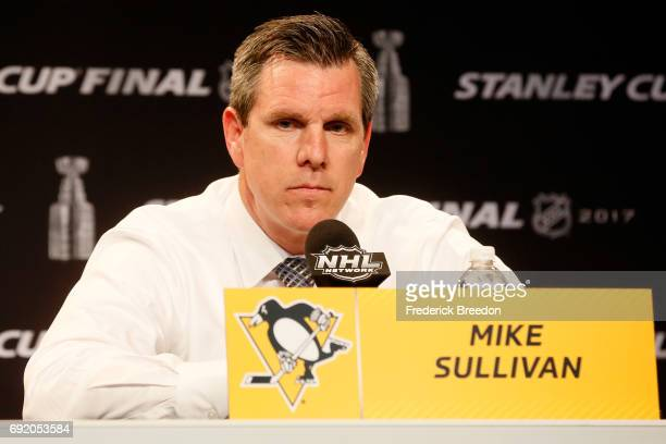 Head coach Mike Sullivan of the Pittsburgh Penguins speaks with the media during a press conference after the Nashville Predators defeated the...