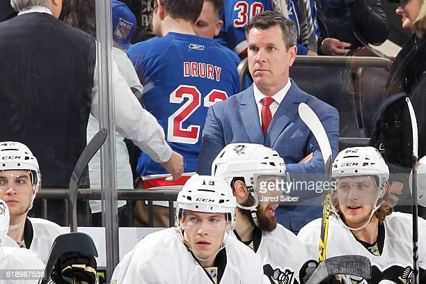 Head coach Mike Sullivan of the Pittsburgh Penguins watches the action from the bench against the New York Rangers at Madison Square Garden on March...