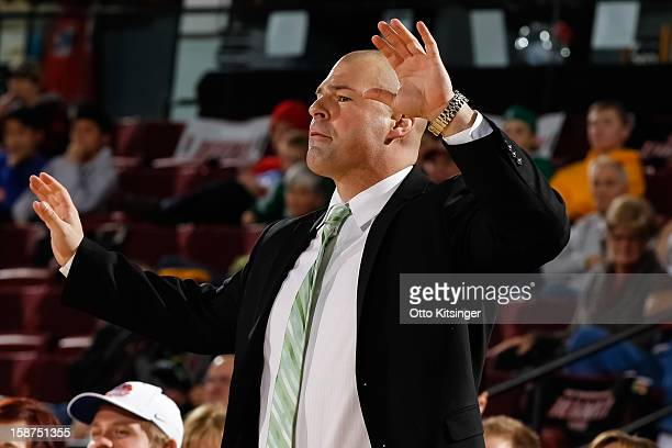 Head Coach Mike Taylor of the Maine Red Claws gestures to his team during the NBA DLeague game against the Idaho Stampede on December 26 2012 at...