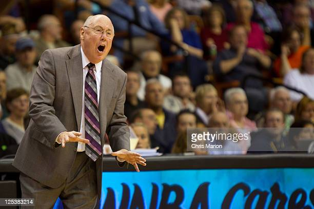 Head coach Mike Thibault of the Connecticut Sun shouts to his team as they play the Atlanta Dream in Game One of the Eastern Conference Semifinals...