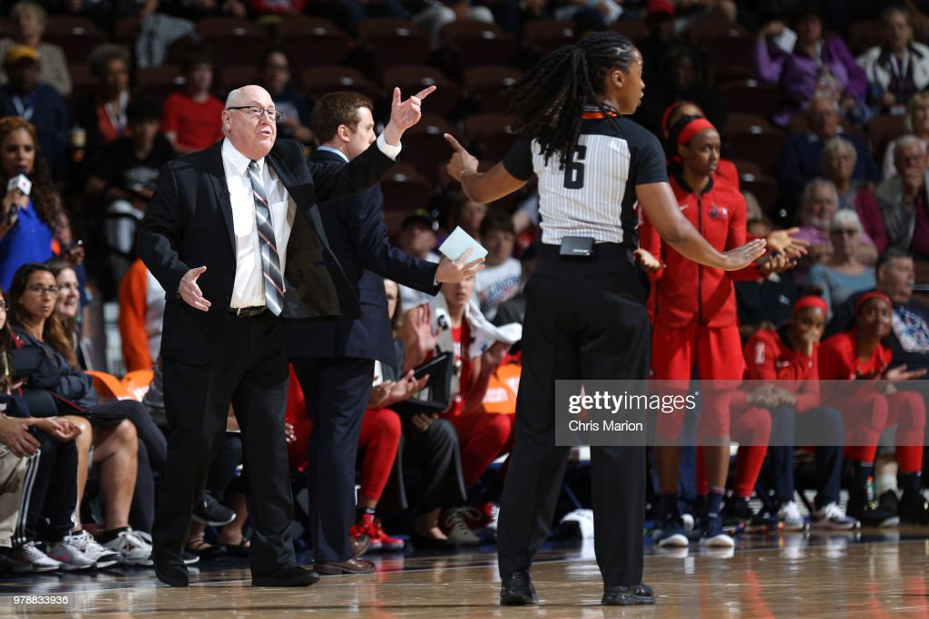 Head Coach Mike Thibault of the Washington Mystics reacts during a WNBA game on June 13, 2018 at the Mohegan Sun Arena in Uncasville, Connecticut.