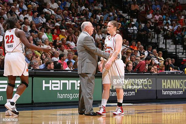 Head coach Mike Thibault talks with Lindsay Whalen of the Connecticut Sun during the game against the New York Liberty on July 15 2008 at the Mohegan...