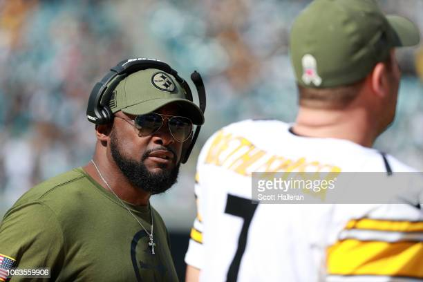 Head coach Mike Tomlin chats with Ben Roethlisberger of the Pittsburgh Steelers during their game against the Jacksonville Jaguars at TIAA Bank Field...