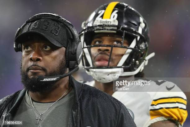 Head coach Mike Tomlin of the Pittsburgh Steelers against the Baltimore Ravens during the fourth quarter at M&T Bank Stadium on December 29, 2019 in...