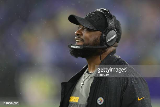Head coach Mike Tomlin of the Pittsburgh Steelers against the Baltimore Ravens during the fourth quarter at MT Bank Stadium on December 29 2019 in...