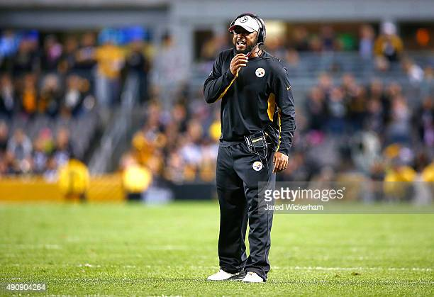 Head Coach Mike Tomlin of the Pittsburgh Steelers calls timeout during the 2nd quarter of the game against the Baltimore Ravens at Heinz Field on...