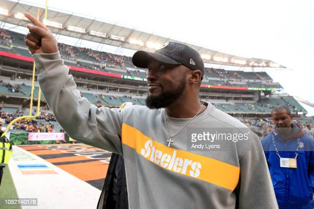Head coach Mike Tomlin of the Pittsburgh Steelers celebrates as he walks off of the field after defeating the Cincinnati Bengals 2821 at Paul Brown...