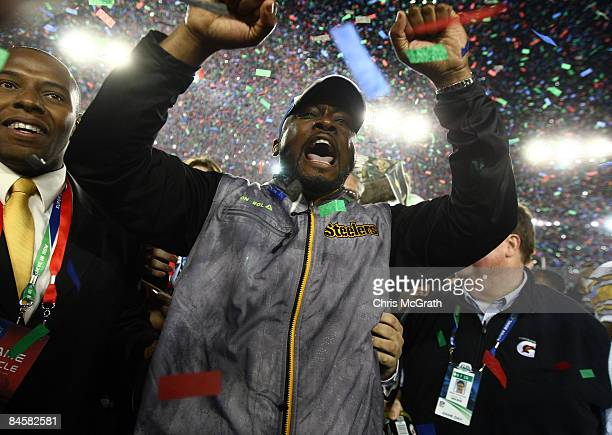 Head coach Mike Tomlin of the Pittsburgh Steelers celebrates on the field after their 27-23 win against the Arizona Cardinals during Super Bowl XLIII...