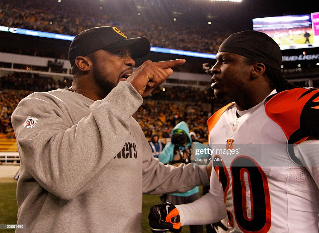 Head coach Mike Tomlin of the Pittsburgh Steelers exchanges words with Reggie Nelson #20 of the Cincinnati Bengals after Pittsburgh's 27-17 win at Heinz Field on December 28, 2014 in Pittsburgh, Pennsylvania.