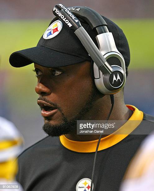 Head coach Mike Tomlin of the Pittsburgh Steelers gives instructions to his team during a game against the Chicago Bears on September 20 2009 at...