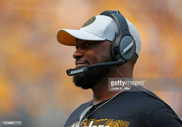 Head coach Mike Tomlin of the Pittsburgh Steelers in action against the Tennessee Titans during a preseason game on August 25 2018 at Heinz Field in...