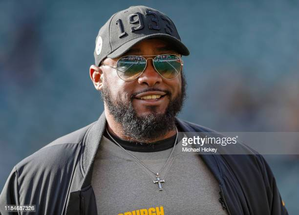 Head coach Mike Tomlin of the Pittsburgh Steelers is seen before the game against the Cincinnati Bengals at Paul Brown Stadium on November 24 2019 in...