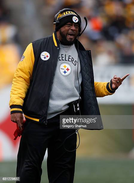 Head coach Mike Tomlin of the Pittsburgh Steelers is seen on the sideline during the third quarter against the Miami Dolphins in the AFC Wild Card...