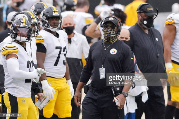 Head coach Mike Tomlin of the Pittsburgh Steelers looks on against the Jacksonville Jaguars at TIAA Bank Field on November 22, 2020 in Jacksonville,...