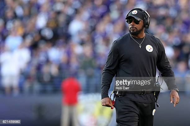 Head coach Mike Tomlin of the Pittsburgh Steelers looks on against the Baltimore Ravens in the fourth quarter at MT Bank Stadium on November 6 2016...