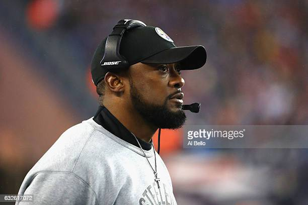 Head coach Mike Tomlin of the Pittsburgh Steelers looks on against the New England Patriots in the AFC Championship Game at Gillette Stadium on...