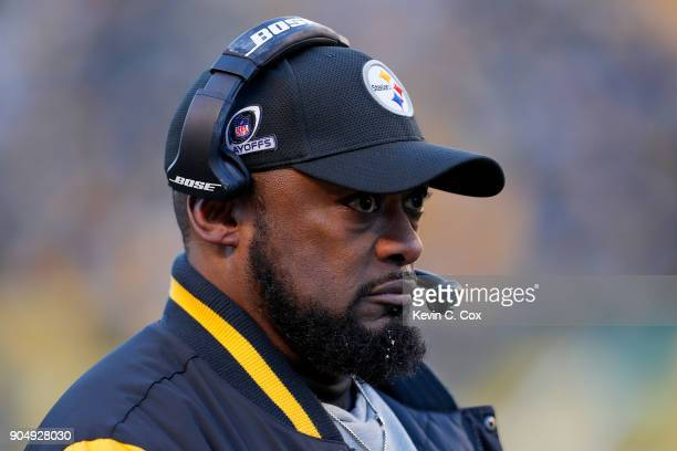 Head coach Mike Tomlin of the Pittsburgh Steelers looks on against the Jacksonville Jaguars during the second half of the AFC Divisional Playoff game...