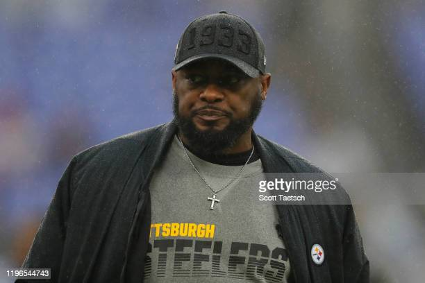 Head coach Mike Tomlin of the Pittsburgh Steelers looks on before his team plays against the Baltimore Ravens at MT Bank Stadium on December 29 2019...