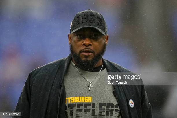 Head coach Mike Tomlin of the Pittsburgh Steelers looks on before the game against the Baltimore Ravens at M&T Bank Stadium on December 29, 2019 in...