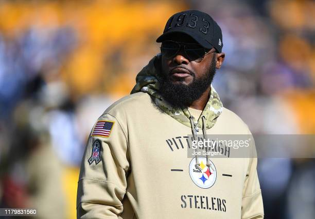 Head coach Mike Tomlin of the Pittsburgh Steelers looks on during warmups prior to the game against the Indianapolis Colts at Heinz Field on November...
