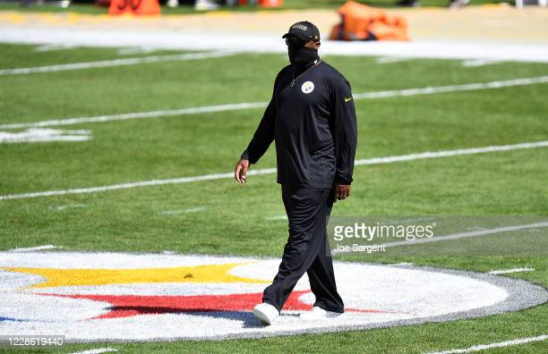 Head coach Mike Tomlin of the Pittsburgh Steelers looks on during warmups prior to the game against the Denver Broncos at Heinz Field on September 20...