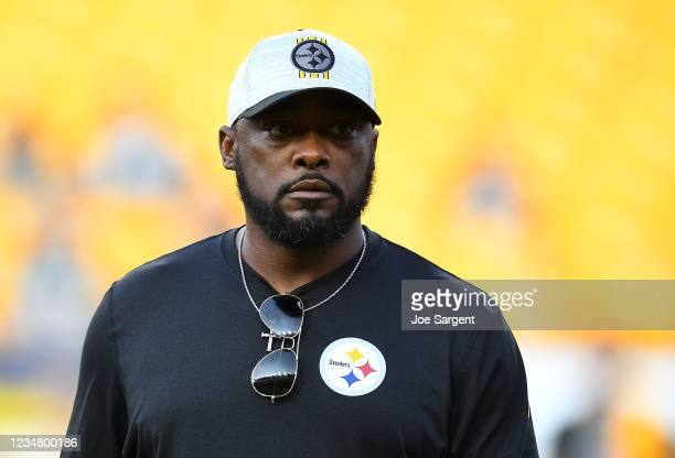 Head coach Mike Tomlin of the Pittsburgh Steelers looks on during warm-up prior to the game against the Detroit Lions at Heinz Field on August 21,...