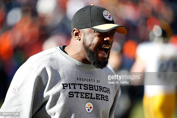 Head coach Mike Tomlin of the Pittsburgh Steelers looks on during warm ups prior to the AFC Divisional Playoff Game against the Denver Broncos at...
