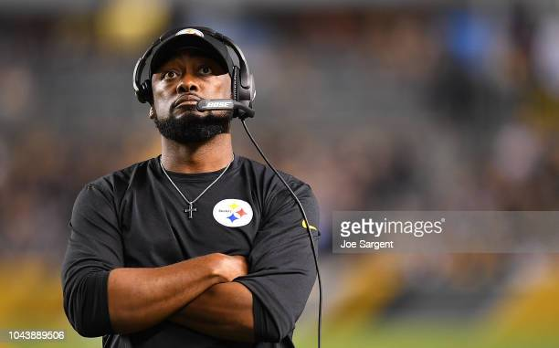 Head coach Mike Tomlin of the Pittsburgh Steelers looks on during the game against the Baltimore Ravens at Heinz Field on September 30, 2018 in...