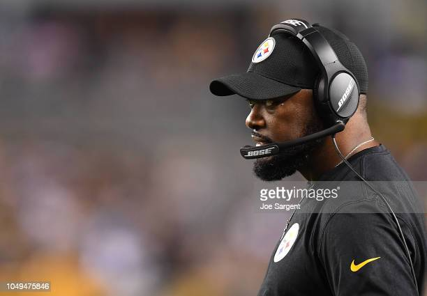 Head coach Mike Tomlin of the Pittsburgh Steelers looks on during the game against the Baltimore Ravens at Heinz Field on September 30 2018 in...