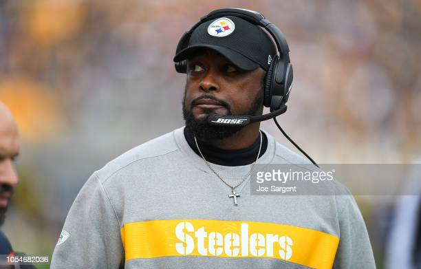 Head coach Mike Tomlin of the Pittsburgh Steelers looks on during the first quarter in the game against the Cleveland Browns at Heinz Field on...
