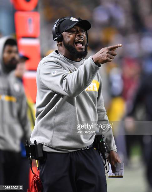 Head coach Mike Tomlin of the Pittsburgh Steelers looks on during the game against the Los Angeles Chargers at Heinz Field on December 2 2018 in...