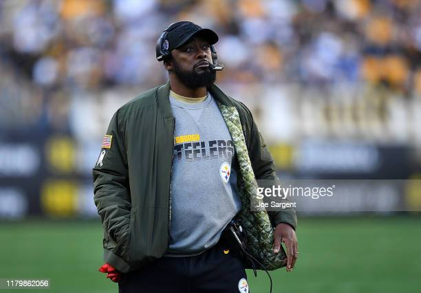 Head coach Mike Tomlin of the Pittsburgh Steelers looks on during the fourth quarter against the Indianapolis Colts at Heinz Field on November 3 2019...