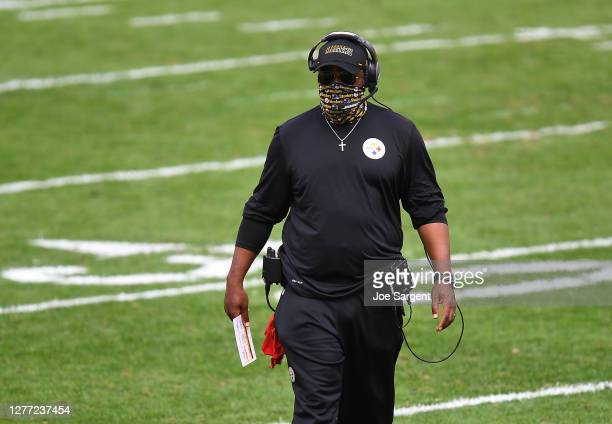 Head coach Mike Tomlin of the Pittsburgh Steelers looks on during the game against the Houston Texans at Heinz Field on September 27, 2020 in...
