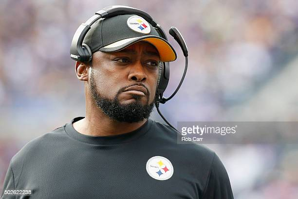 Head coach Mike Tomlin of the Pittsburgh Steelers looks on during the second quarter against the Baltimore Ravens at MT Bank Stadium on December 27...